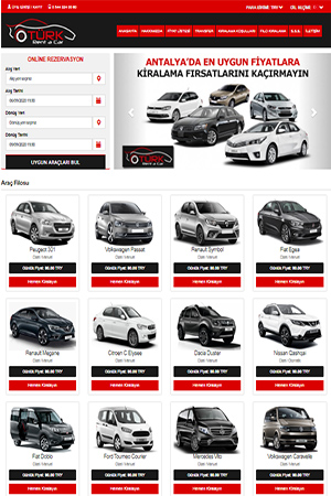rent a car web tasarım